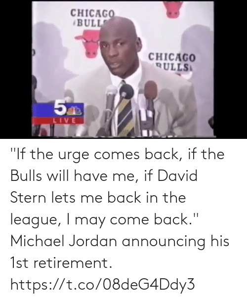 """The League: """"If the urge comes back, if the Bulls will have me, if David Stern lets me back in the league, I may come back.""""    Michael Jordan announcing his 1st retirement.    https://t.co/08deG4Ddy3"""