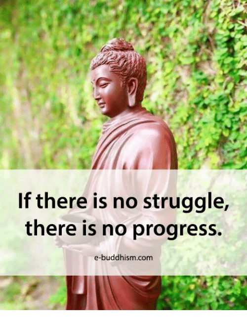 Buddhism: If there is no struggle,  there is no progress.  e-buddhism com