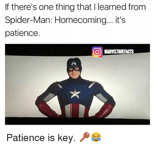 marred: If there's one thing that I learned from  Spider-Man: Homecoming...it's  patience.  01 MAR ELTRUEFACTS Patience is key. 🔑😂