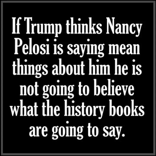 Nancy Pelosi: If Trump thinks Nancy  Pelosi is sayıng mean  things about him he is  not going to believe  what the history books  are going to say.