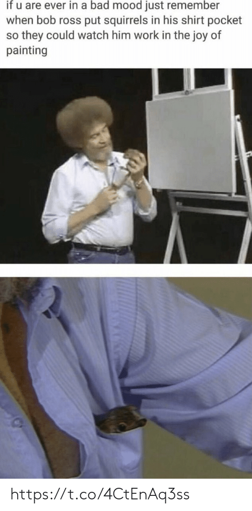 Bad, Memes, and Mood: if u are ever in a bad mood just remember  when bob ross put squirrels in his shirt pocket  so they could watch him work in the joy of  painting https://t.co/4CtEnAq3ss