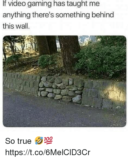 True, Video, and Gaming: If video gaming has taught me  anything there's something behind  this wall  iit So true 🤣💯 https://t.co/6MelClD3Cr