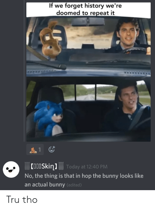 History, The Thing, and Bunny: If we forget history we're  doomed to repeat it  Coo0SkinToday at 12:40 PM  No, the thing is that in hop the bunny looks like  an actual bunny (edited) Tru tho