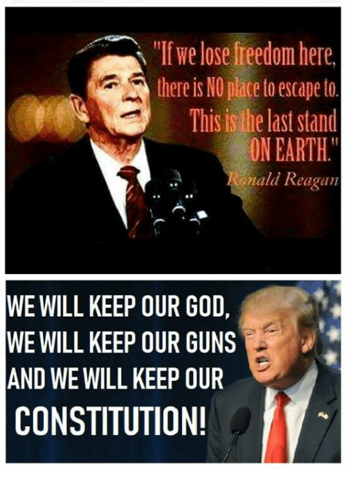 """Guns, Memes, and Constitution: """"If we lose freedom here  there is NO place toescape to  This is the last stand  ON EARTH.  ald Reagan  WE WILL KEEP OUR GO,  WE WILL KEEP OUR GUNS  AND WE WILL KEEP OUR  CONSTITUTION!"""