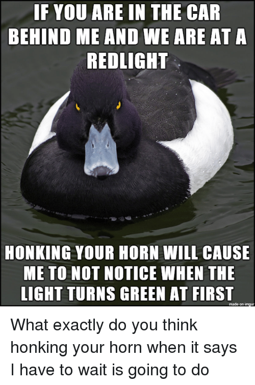 honking: IF YOU ARE IN THE CAR  BEHIND ME AND WE ARE AT A  REDLIGHT  HONKING YOUR HORN WILL CAUSE  ME TO NOT NOTICE WHEN THE  LIGHT TURNS GREEN AT FIRST  made on imgur What exactly do you think honking your horn when it says I have to wait is going to do