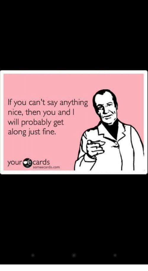 Your E Cards: If you can't say anything  nice, then you and I  will probably get  along just fine.  your e cards  someecards.com