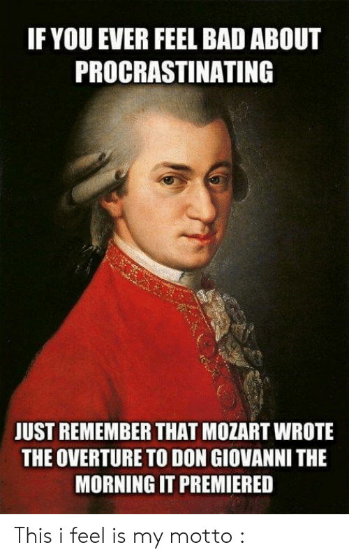 motto: IF YOU EVER FEEL BAD ABOUT  PROCRASTINATING  JUST REMEMBER THAT MOZART WROTE  THE OVERTURE TO DON GIOVANNI THE  MORNING IT PREMIERED This i feel is my motto :