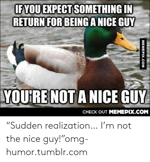 "the nice guy: IF YOU EXPECT SOMETHING IN  RETURN FOR BEING A NICE GUY  YOU'RE NOT A NICE GUY  quickmeme.com  CHECK OUT MEMEPIX.COM  MEMEPIX.COM ""Sudden realization… I'm not the nice guy!""omg-humor.tumblr.com"