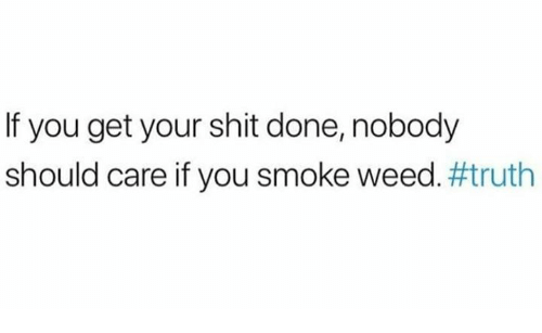 Memes, Shit, and Weed: If you get your shit done, nobody  should care if you smoke weed.#truth