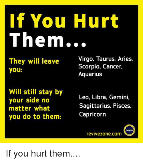 If You Hurt Them They Will Leave You Virgo Taurus Aries