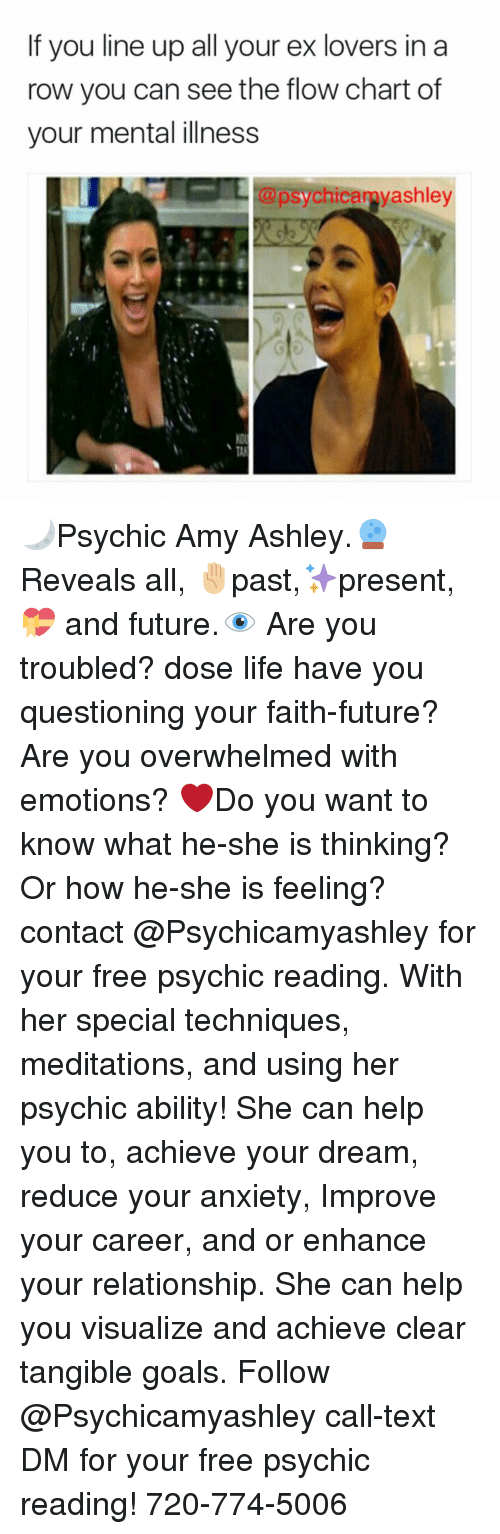 Meditative: If you line up all your ex lovers in a  now you can see the flow chart of  your mental illness  @psychicamy ashley 🌙Psychic Amy Ashley.🔮Reveals all, ✋🏼past,✨present,💝 and future.👁 Are you troubled? dose life have you questioning your faith-future? Are you overwhelmed with emotions? ❤️Do you want to know what he-she is thinking? Or how he-she is feeling? contact @Psychicamyashley for your free psychic reading. With her special techniques, meditations, and using her psychic ability! She can help you to, achieve your dream, reduce your anxiety, Improve your career, and or enhance your relationship. She can help you visualize and achieve clear tangible goals. Follow @Psychicamyashley call-text DM for your free psychic reading! 720-774-5006