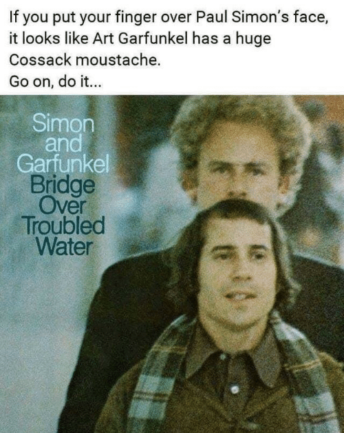 moustache: If you put your finger over Paul Simon's face,  it looks like Art Garfunkel has a huge  Cossack moustache.  Go on, do it...  Simon  and  Garfunkel  Bridge  Over  Troubled  Water