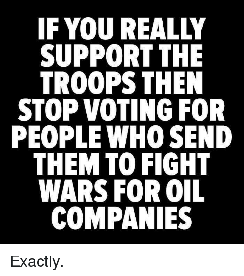 fightings: IF YOU REALLY  SUPPORT THE  TROOPS THEN  STOP VOTING FOR  PEOPLE WHO SEND  THEM TO FIGHT  WARS FOR OIL  COMPANIES Exactly.