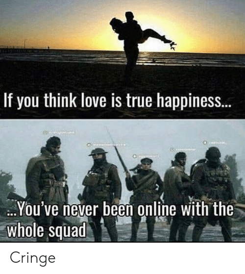 Never Been: If you think love is true happines..  You've never been online with the  whole squad Cringe