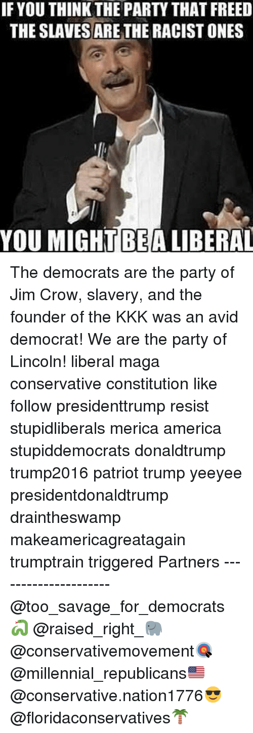 America, Kkk, and Memes: IF YOU THINK THE PARTY THAT FREED  THE SLAVES ARE THE RACIST ONES  YOU MIGHT BEA LIBERAL The democrats are the party of Jim Crow, slavery, and the founder of the KKK was an avid democrat! We are the party of Lincoln! liberal maga conservative constitution like follow presidenttrump resist stupidliberals merica america stupiddemocrats donaldtrump trump2016 patriot trump yeeyee presidentdonaldtrump draintheswamp makeamericagreatagain trumptrain triggered Partners --------------------- @too_savage_for_democrats🐍 @raised_right_🐘 @conservativemovement🎯 @millennial_republicans🇺🇸 @conservative.nation1776😎 @floridaconservatives🌴