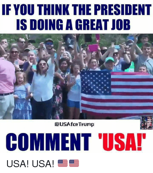 Memes, 🤖, and Usa: IF YOU THINK THE PRESIDENT  IS DOING A GREAT JOB  USAforTrump  COMMENT 'USA! USA! USA!  🇺🇲️🇺🇲️