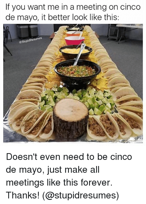 Memes, Cinco De Mayo, and Forever: If you want me in a meeting on cinco  de mayo, it better look like this:  StupidResumes Doesn't even need to be cinco de mayo, just make all meetings like this forever. Thanks! (@stupidresumes)