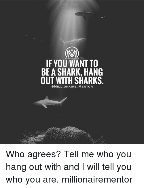 sharking: IF YOU WANT TO  BE A SHARK, HANG  OUT WITH SHARKS.  OMILLIONAIRE MENTOFR Who agrees? Tell me who you hang out with and I will tell you who you are. millionairementor