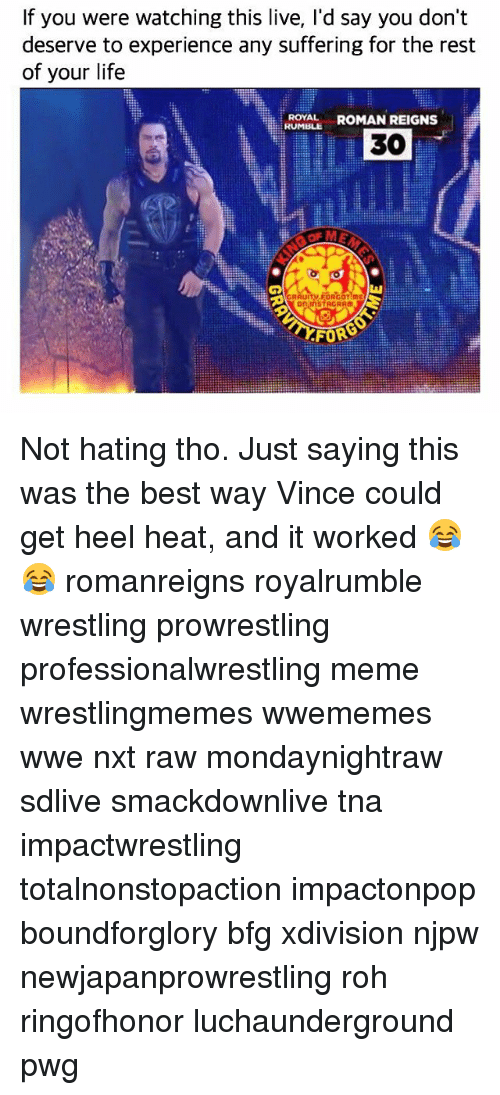 Romanized: If you were watching this live, I'd say you don't  deserve to experience any suffering for the rest  of your life  ROYAL ROMAN REIGNS  RUMBLE  30  觖  on InSTAGRAM  FORG Not hating tho. Just saying this was the best way Vince could get heel heat, and it worked 😂😂 romanreigns royalrumble wrestling prowrestling professionalwrestling meme wrestlingmemes wwememes wwe nxt raw mondaynightraw sdlive smackdownlive tna impactwrestling totalnonstopaction impactonpop boundforglory bfg xdivision njpw newjapanprowrestling roh ringofhonor luchaunderground pwg