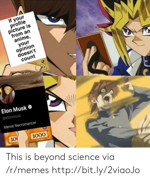 Profile Picture: If your  profile  picture is  from an  anime,  your  opinion  doesn't  count  Elon Musk  @elonmusk  Meme Necromancer  10  1000 This is beyond science via /r/memes http://bit.ly/2viaoJo