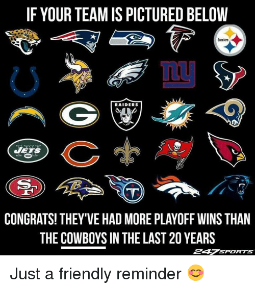 Dallas Cowboys, Nfl, and Raiders: IF YOUR TEAM IS PICTURED BELOW  Steelers  RAIDERS  CONGRATS! THEY'VE HAD MORE PLAYOFF WINS THAN  THE COWBOYS IN THE LAST 20 YEARS  247sPORTS Just a friendly reminder 😊