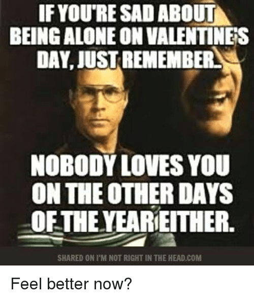 nobody love: IF YOURE SAD ABOUT  BEING ALONEON VALENTINES  DAY, JUSTREMEMBERLA  NOBODY LOVES YOU  ON THE OTHER DAYS  OFTHE YEARIEITHER.  SHARED ON I M NOT RIGHT IN THE HEAD.COM Feel better now?