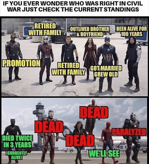 deads: IFYOU EVER WONDER WHO WAS RIGHT IN CIVIL  WAR JUST CHECK THE CURRENT STANDINGS  RETIRED  WITH FAMILYOUTLIVED BROTHER  BEEN ALIVE FOR  100 YEARS  &BOYFRIEND  PROMOTION  RETIRED  WITH FAMILY GOTMARRIED  GREW OLD  DEAD  DEAD  DEADS  PARALYZED  DIED TWICE  IN 3 YEARS  ICURRENTLY  ALIVE  WELL SEE