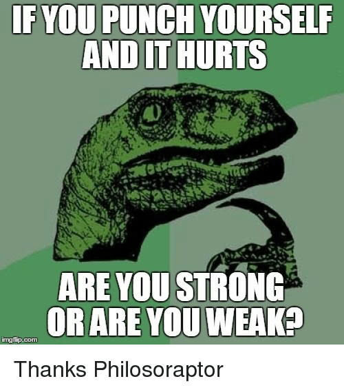 Philosoraptor, Strong, and Com: IFYOU PUNCH YOURSELF  AND IT HURTS  ARE YOU STRONG  ORARE YOU WEAK?  mgfip.com <p>Thanks Philosoraptor</p>