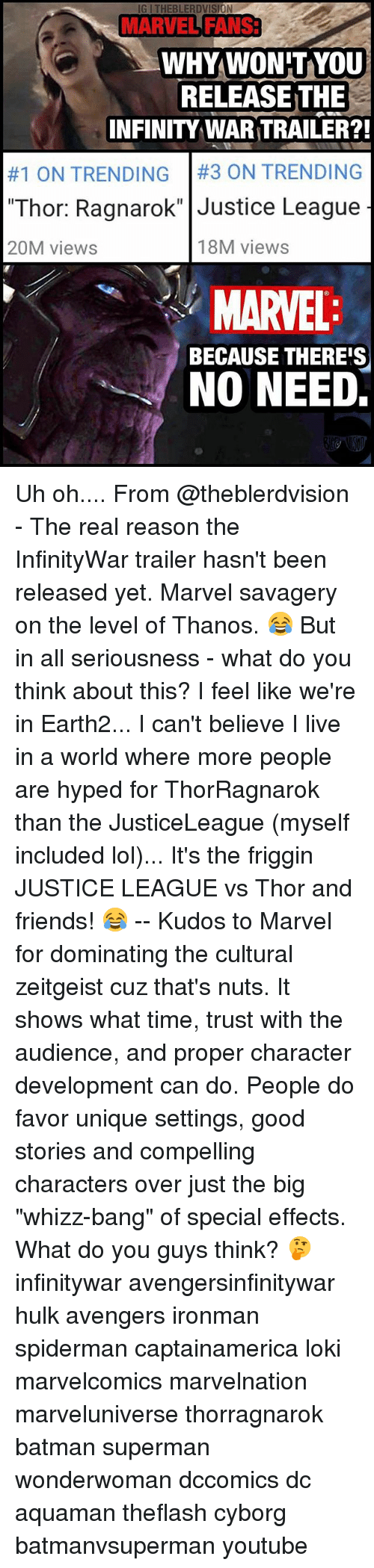 """Lokie: IG I THEBLERDVISION  MARVEL FANS3  MARVEL FANS  WHYWON'TYoU  RELEASE THE  INFINITY WAR TRAILER?!  #1 ON TRENDING 