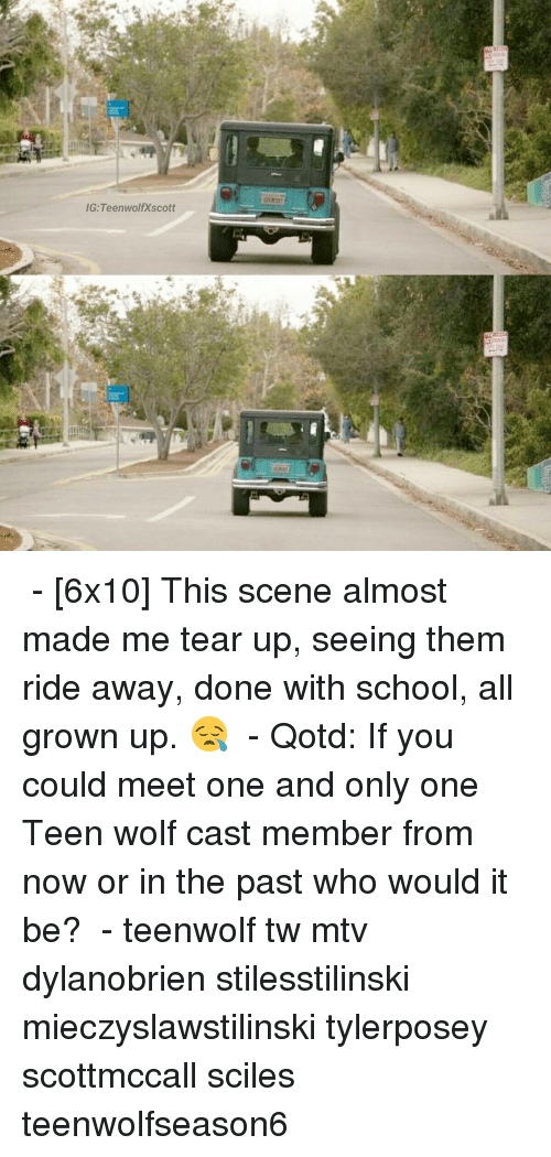 Teared Up: IG: Teen wolf Xscott ⠀ - [6x10] This scene almost made me tear up, seeing them ride away, done with school, all grown up. 😪 ⠀ - Qotd: If you could meet one and only one Teen wolf cast member from now or in the past who would it be? ⠀ - teenwolf tw mtv dylanobrien stilesstilinski mieczyslawstilinski tylerposey scottmccall sciles teenwolfseason6