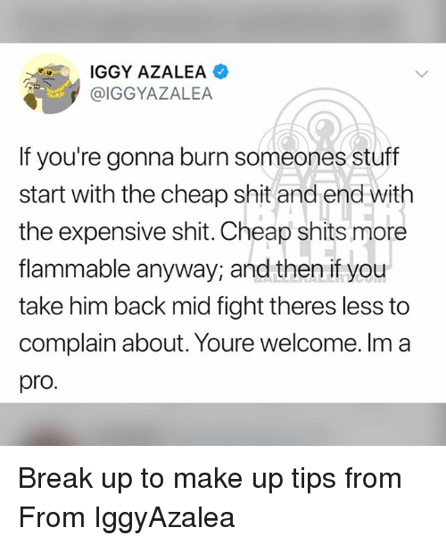 Iggy Azalea: IGGY AZALEA  @IGGYAZALEA  If you're gonna burn someones stuff  start with the cheap shit and end wit  the expensive shit. Cheap shits more  flammable anyway, and then if you  take him back mid fight theres less to  complain about. Youre welcome. Im a  pro. Break up to make up tips from From IggyAzalea