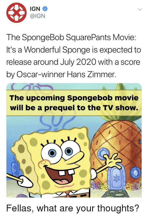 SpongeBob, Movie, and Spongebob Squarepants: IGN  @IGN  The SpongeBob SquarePants Movie  It's a Wonderful Sponge is expected to  release around July 2020 with a score  by Oscar-winner Hans Zimmer.  The upcoming Spongebob movie  will be a prequel to the TV show. Fellas, what are your thoughts?