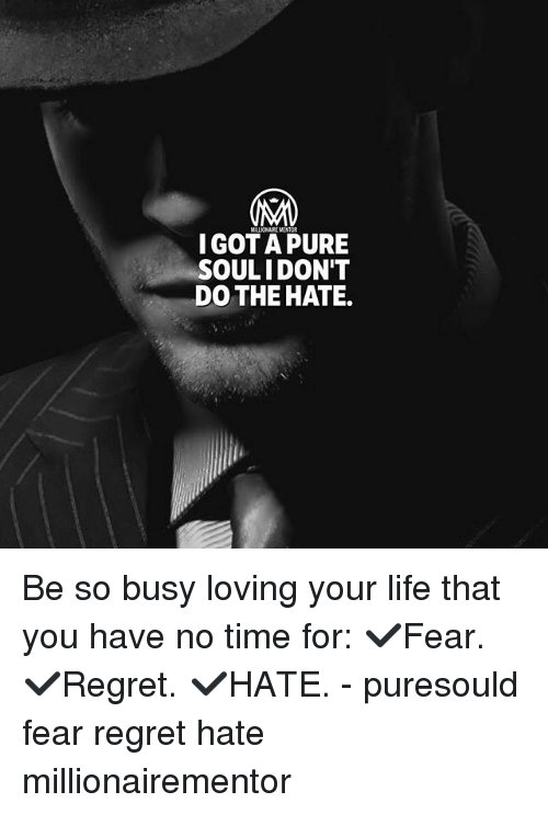 Life, Memes, and Regret: IGOTA PURE  SOULI DON'T  DO THE HATE. Be so busy loving your life that you have no time for: ✔️Fear. ✔️Regret. ✔️HATE. - puresould fear regret hate millionairementor