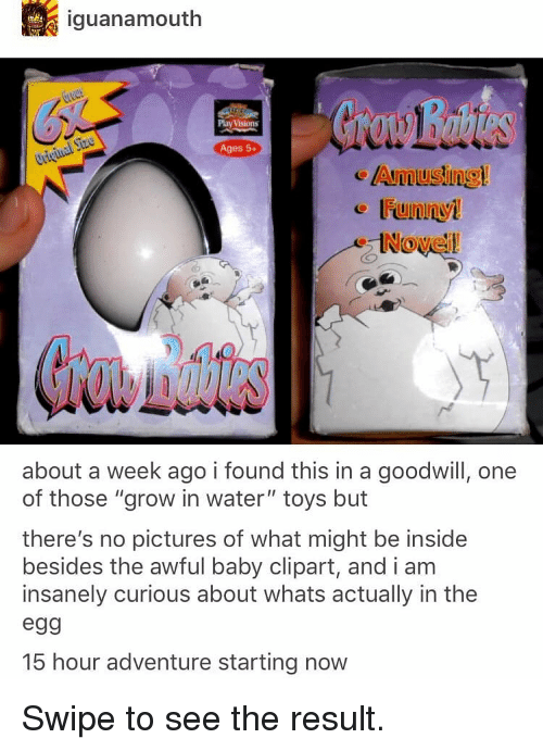 """goodwill: iguanamouth  Play Visions  Ages 5+  Amusing  Noveil  about a week ago i found this in a goodwill, one  of those """"grow in water"""" toys but  there's no pictures of what might be inside  besides the awful baby clipart, and i am  insanely curious about whats actually in the  egg  15 hour adventure starting now Swipe to see the result."""