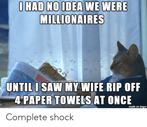 Saw, Imgur, and Wife: IHAD NOIDEA WE WERE  MILLIONAIRES  UNTILI SAW MY WIFE RIP OFF  4 PAPER TOWEIS AT ONCE  made on imgur Complete shock