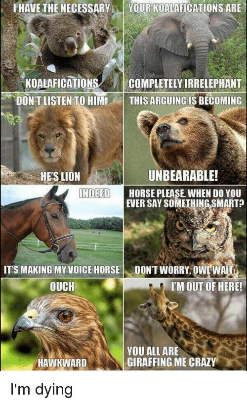 Memes, Wais, and 🤖: IHAVETHE NECESSARY  YOUR KOALAFICATIONS ARE  KOALAFICATIONS  COMPLETELY IRRELEPHANT  DON'T LISTEN TO HIME  THIS ARGUING IS BECOMING  UNBEARABLE!  HES LION  INDEED  HORSE PLEASE WHEN DO YOU  EVER SAY SOMETHING SMART  ITS MAKING MY VOICE HORSE  DONT WORRY OWL WAI  OUCH  I'M OUT OF HERE!  YOU ALL ARE  GIRAFFING ME CRAZY  HAWKWARD I'm dying