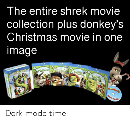 Christmas, Shrek, and Movie: Ihe entire shrek movie  collection plus donkey's  Christmas movie in one  mage Dark mode time