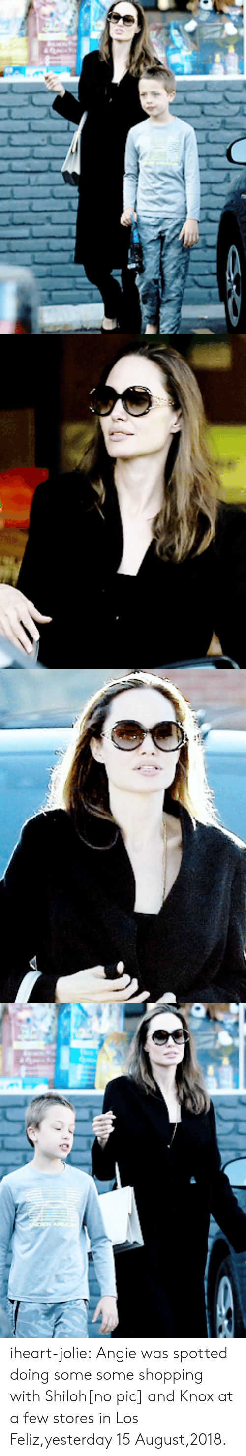 Shopping, Tumblr, and Blog: iheart-jolie:    Angie was spotted doing some some shopping with Shiloh[no pic] and Knox at a few stores in Los Feliz,yesterday 15 August,2018.