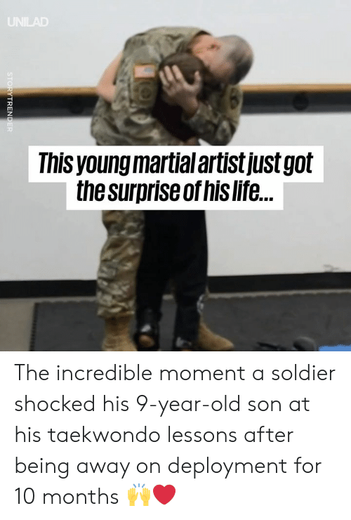 Martial: Ihis young martial artistjustgolt  the surpriseof his life. The incredible moment a soldier shocked his 9-year-old son at his taekwondo lessons after being away on deployment for 10 months 🙌❤️️