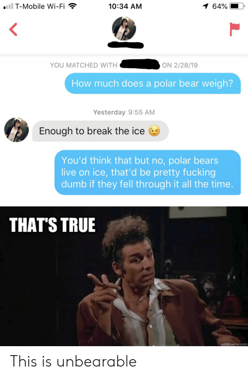 Quickmeme Com: iil T-Mobile Wi-Fi  1 64%  10:34 AM  YOU MATCHED WITH  ON 2/28/19  How much does a polar bear weigh?  Yesterday 9:55 AM  Enough to break the ice  You'd think that but no, polar bears  live on ice, that'd be pretty fucking  dumb if they fell through it all the time.  THAT'S TRUE  quickmeme.com This is unbearable