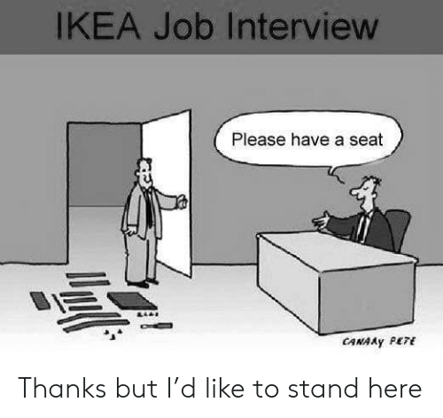 seat: IKEA Job Interview  Please have a seat  CANAAY PETE Thanks but I'd like to stand here