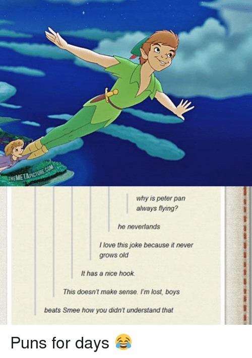 Memes, Peter Pan, and Puns: IKEMETAPN  why is peter pan  always flying?  he neverlands  love this joke because it never  grows old  It has a nice hook.  This doesn't make sense. I'm lost, boys  beats Smee how you didn't understand that Puns for days 😂