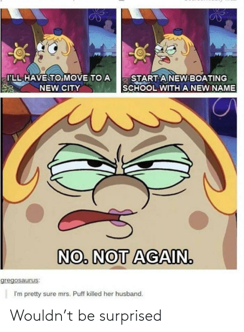 A New: I'LL HAVE TO MOVE TO A  START A NEW BOATING  SCHOOL WITH A NEW NAME  NEW CITY  NO. NOT AGAIN.  gregosaurus:  I'm pretty sure mrs. Puff killed her husband. Wouldn't be surprised