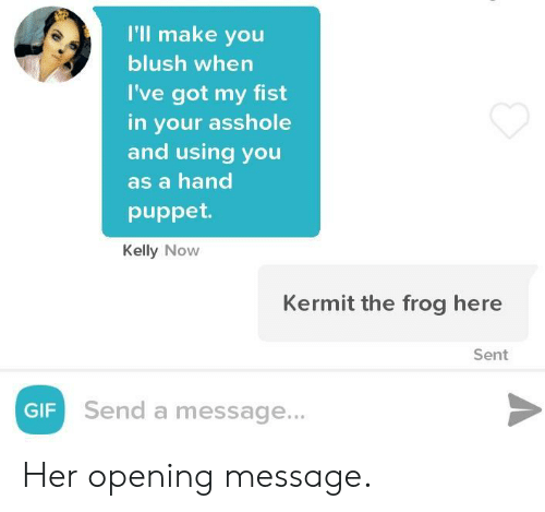 Kermit the Frog: I'll make you  blush when  I've got my fist  in your asshole  and using you  as a hand  puppet  Kelly Now  Kermit the frog here  Sent  GIF  Send a message... Her opening message.