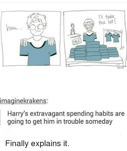 extravagant: I'll take  lot!  imaginekrakens  Harry's extravagant spending habits are  going to get him in trouble someday Finally explains it.