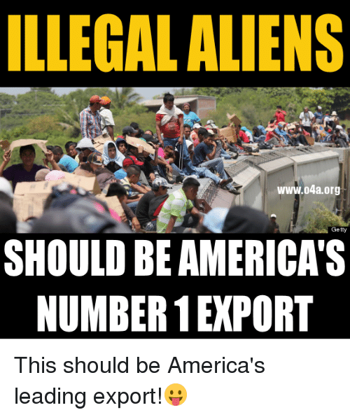 Aliens, Getty, and Org: ILLEGAL ALIENS  www.o4a.org  Getty  SHOULD BE AMERICAS  NUMBER EXPORT This should be America's leading export!😛