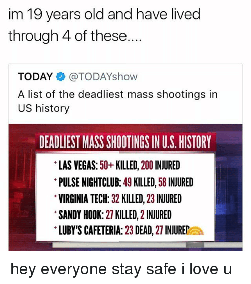 us history: im 19 years old and have lived  through 4 of these....  TODAY@TODAYshow  A list of the deadliest mass shootings in  US history  DEADLIEST MASS SHOOTINGS IN U.S. HISTORY  LAS VEGAS: 50+KILLED, 200 INJURED  PULSE NIGHTCLUB: 49 KILLED, 58 INJURED  VIRGINIA TECH: 32 KILLED, 23 INJURED  SANDY HOOK: 27 KILLED, 2 INJURED  LUBY'S CAFETERIA: 23 DEAD, 27 INJUREa hey everyone stay safe i love u