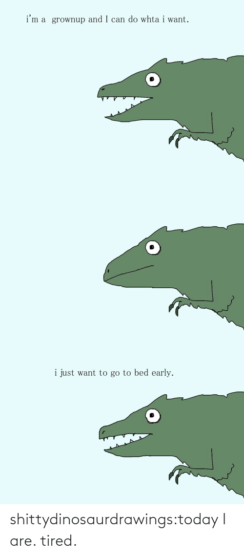 want: i'm a grownup and I can do whta i want.   i just want to go to bed early. shittydinosaurdrawings:today I are. tired.