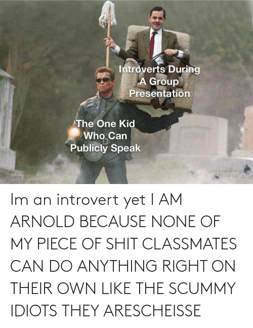 idiots: Im an introvert yet I AM ARNOLD BECAUSE NONE OF MY PIECE OF SHIT CLASSMATES CAN DO ANYTHING RIGHT ON THEIR OWN LIKE THE SCUMMY IDIOTS THEY ARESCHEISSE