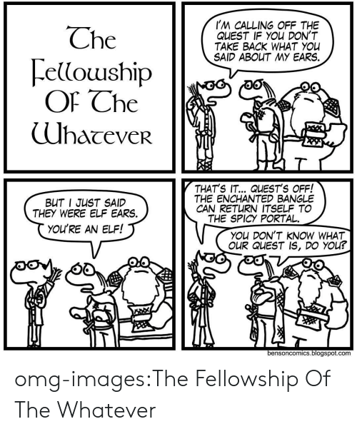 fellowship: I'M CALLING OFF THE  QLEST IF YOu DON'T  TAKE BACK WHAT YOU  SAID ABOUT MY EARS.  Che  ellouship  Of Che  (UhaceveR  THAT'S IT... QUEST'S OFF!  THE ENCHANTED BANGLE  CAN RETURN ITSELF TO  THE SPICY PORTAL.  BUT I JUST SAID  THEY WERE ELF EARS.  YOU'RE AN ELF!  You DON'T KNOW WHAT  OUR QUEST IS, DO YOu?  bensoncomics.blogspot.com omg-images:The Fellowship Of The Whatever